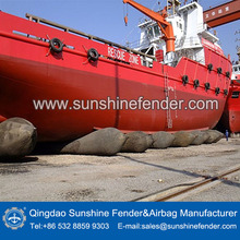 Strong reinforcent inflatable underwater lift bags for ship launching system