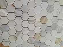Hot sale calacatta gold backsplash marble 1 inch hexagon mosaic