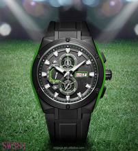 full PVD black color double calendar silicone wristband chronograph watch outdoor