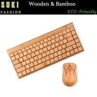 2015 Hot Sell Bamboo Wood Mechanical Keyboard USB Wireless Bluetooth Keyboard