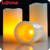 LIDORE Battery Operated Flicker Dancing Flame Real Wax LED Candle