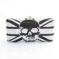 2015 New Skull Pattern Handmade Crystal Stone Party Evening Clutch Bag