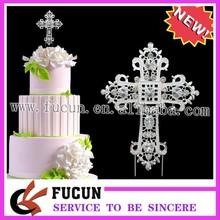 argento strass torta di pick gemme diamante croce toppers