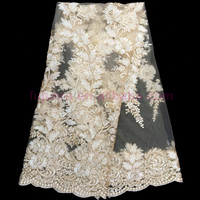 2015 Latest gold Flower Design african lace fabric for Nigerian wedding