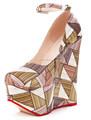 3 renk yeni moda yarım yakın ayakkabı kama pompaları kadınların yüksek topuk platform ayakkabı pompaları bayan kız