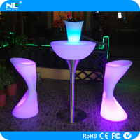 Modern LED illuminated party bar cocktail tables / glowing light LED colorful table