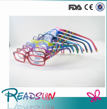 2015 china new high qualitycheap handmade acetate kids optical frame with rubber pattern temples and spring hinge