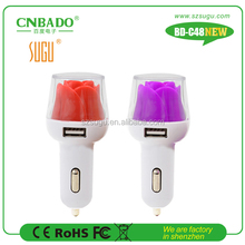 2015 Popular NEW 2.1A dual usb car charger with LED flower for pad,power bank, tablet pc