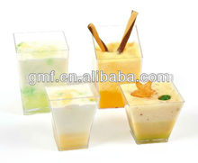 2012 hot sale disposable plastic square sweet cup