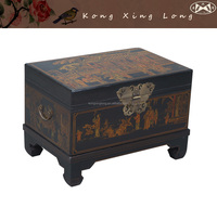Antique Furntiure KXL Hand-painted Small Storage Taochi Trunk with Tray inside