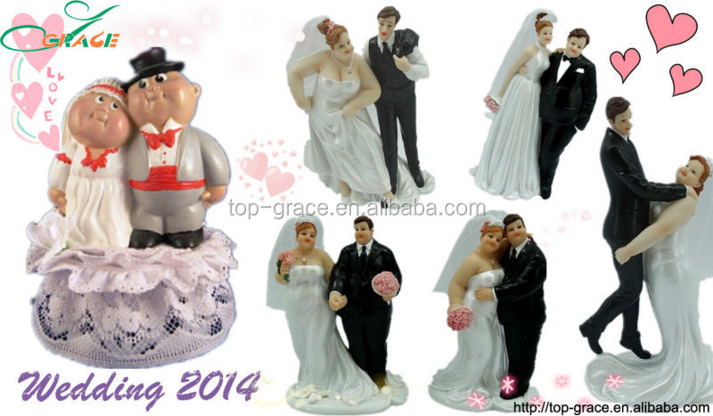 Fat Bride And Groom Wedding Cake Toppers Polyresin Thin Funny