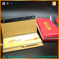 OEM Custom Gift Promotion spiral-bound desktop Paper Laminated Calendar Wholesale