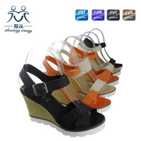 fashion ladies platform high heel sandal with belt hemp ropes shoes