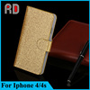 China factory OEM flip leather case for iphone 4s, cheap price bling case for iphone 4s