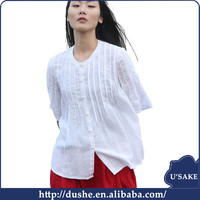 usake stylish girls half sleeve the newest soft cotton women full open front white ladies tops & blouse