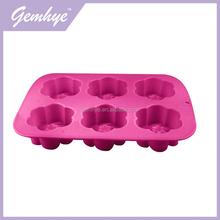 Hot Sale LFGB/FDA Food Grade 6 Holes Flower Shape Cake Mold Silicone Mold Maker