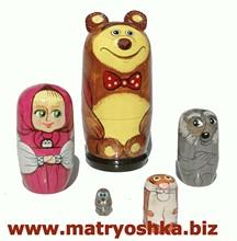 """Matrioska estilo cuento de hadas ruso """"masha y oso"""" matryoshka babushka de madera muñeca de anidación hecha y pintada a la mano"""