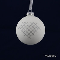 White hanging heart shape glass ball craft wholesale,christmas gifts