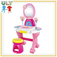 Girls toys plastic toy makeup dressing table with mirror and IC and chair childs dressing table toys