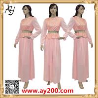 Lace Long Sleeve Chiffon Maxi Dress Casual Vintage Clothing Indonesia Muslim Dress