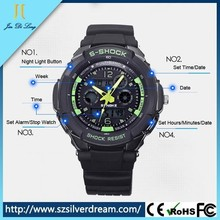 2015 Fashion S-Shock 2Times Zone Backlight Japan Quartz Silicone Sport Watches Men, Swim Dive Wristwatches