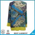 alta pescoço elegante saia e blusa de conjuntos de mangas compridas