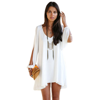 Ladies V-Neck White Leisure Casual Beach bathing suits Jersey Dress