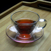 200ml double wall tea cups double wall glass with handle