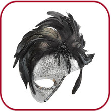 Top quality Venetian Party Masks Masquerade Ostrich Feather Masks for women PGAC-0656
