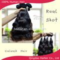 extensão do cabelo natural cor preta, estilo ondulado máquina feita de cabelo dupla tece extensão para as mulheres negras