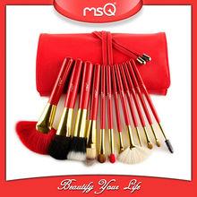 msq 12 piezas de alta calidad de color rojo natural de maquillaje de pelo cepillo conjunto