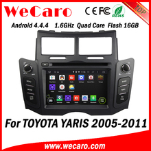 Wecaro Android 4.4.4 stereo double din for toyota yaris sedan car dvd player GPS A9 cpu 2005 - 2011