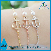 Dainty Friendship Pearl Anchor Bracelet