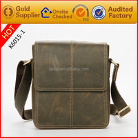 Custom your own design Handmade Brand Crazy Horse Leather Small Shoulder Bags for Man for Importer