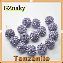 tanzanita 10mm shamballa bola de cristal checo cuentas allanar diamantes de imitación discoteca cuentas