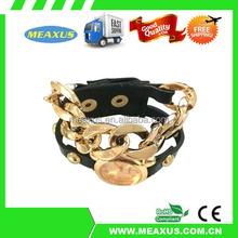 Free Shipping Punk Dial Leather Chain Wrap Analog Quartz Wrist Watch Bracelet Black
