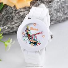 Fashion Tideway Quartz Geneva Floral Watches Silicone
