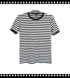 New style cotton fabric stripe t shirt for men with OEM service