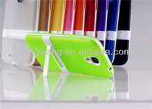 Hot Dual Color Hybrid Hard PC + Soft TPU Stand Case with stents For Samsung Galaxy S4 I9500 Holder Back Skin Cover Wholesale