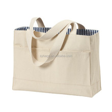 double pocket cotton twill tote bag / oem production canvas tote bag / exclusive canvas tote bag