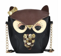 Lovely Cartoon Animal Fox Shoulder Bag, fashion girl wol Cross-body Bag with metal chain