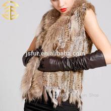Venta al por mayor Animal de moda de punto chaleco de conejo y mapache de piel chalecos de China
