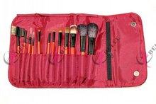 Top quality hot selling wood hand 12pcs kabuki cosmetic makeup brush kit