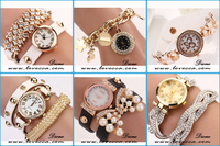 Fashion Women Lady Round Dial Quartz Analog Wrist Watch PU Leather Band