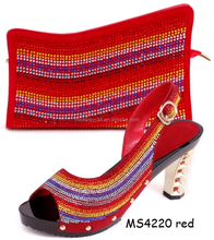 2015 summer name brand wholesale shoes new shoes red matching shoes and bags for party MS4220 red