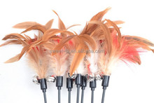 Wholesale Natural Color No Dye Long Stick Cat Feather Wand Toy