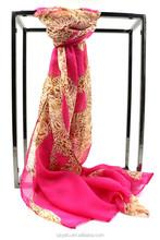 Hot Sale Ladies Chiffon Scarf Normal Long Leopard Print Georgette Shawl/HIjab