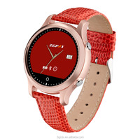Round leather smart watch Sync Bluetooth 4.0 watch for iPhone and Android phone watch