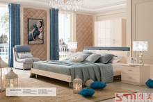 bedroom sets furniture king size bed bedside table dresser with mirror 4 door wardrobe new white color cheap price furniture