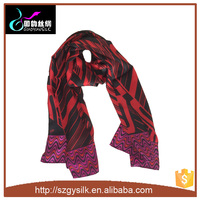 2016 newest silk shawl print digital print custom own design silk scarf